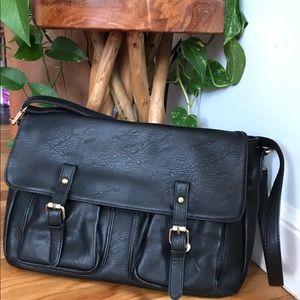 Handbags - Black cross body faux leather messenger bag